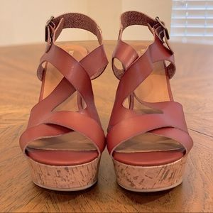 NEW Cognac Leather Wedge Sandals 9.5W